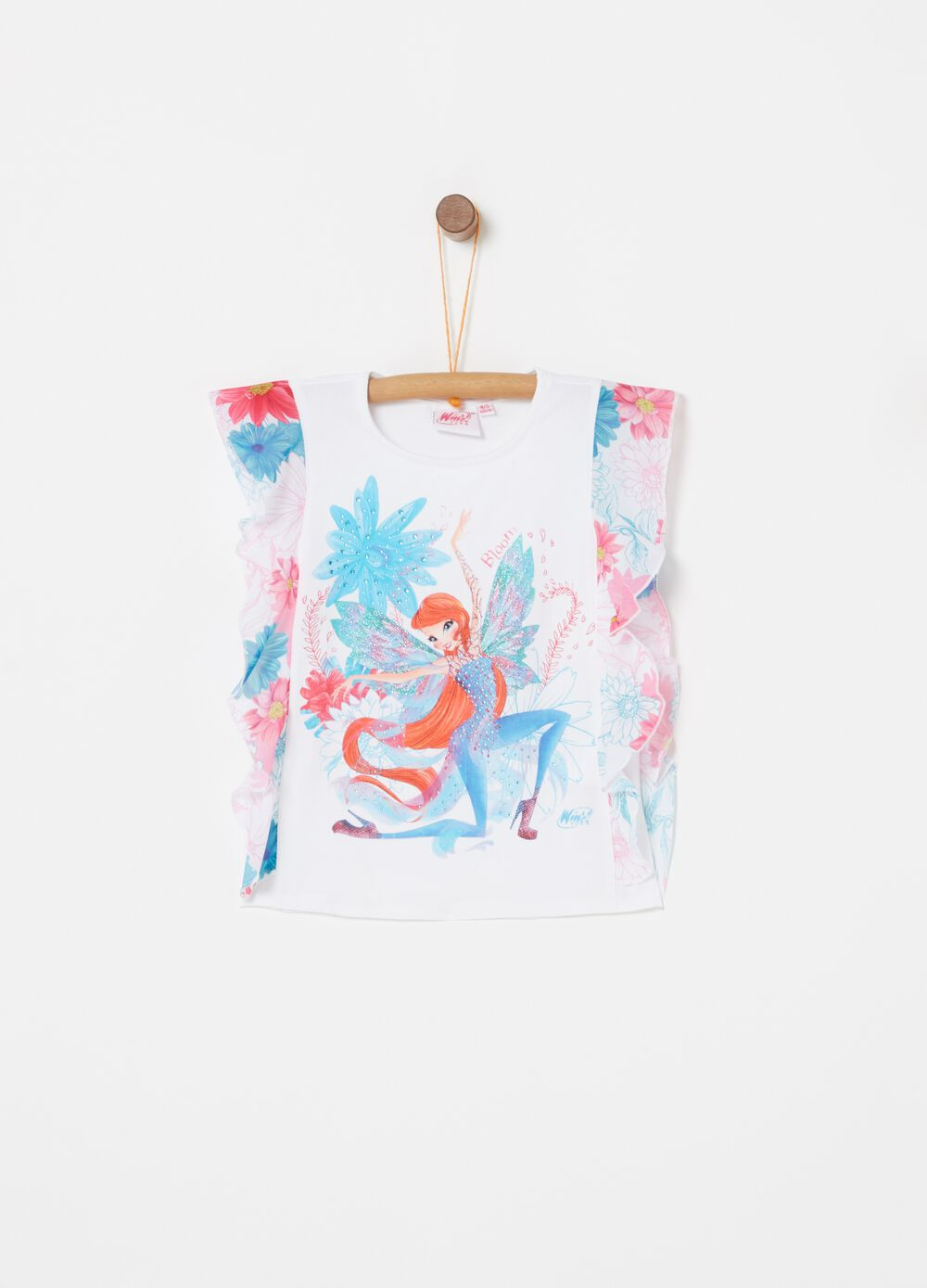 Tank top with floral flounce and Winx diamantés