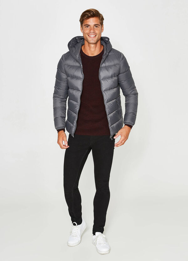 Down jacket with shiny lined hood