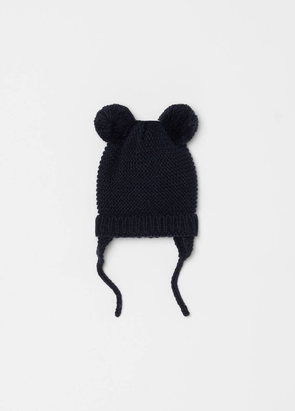 Hat with pompom and ties