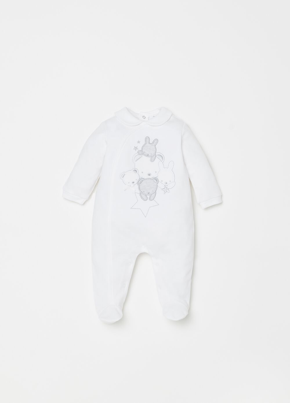 100% cotton onesie with feet and embroidery