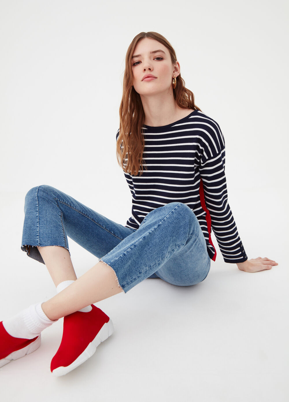 Striped top with contrasting sides