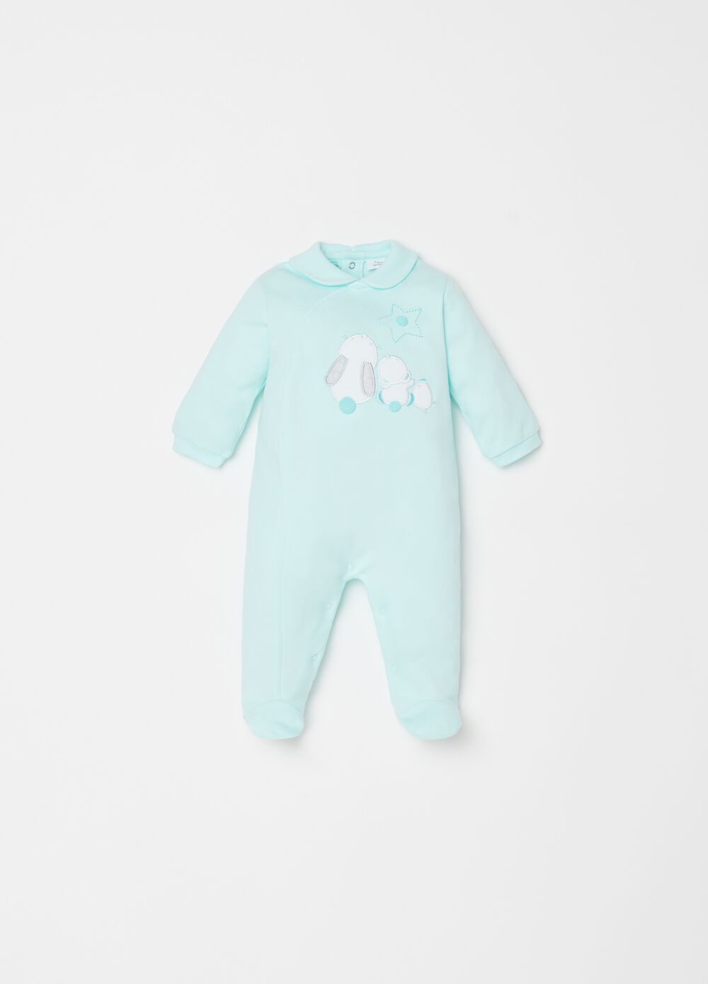 Onesie with feet and rabbit embroidery
