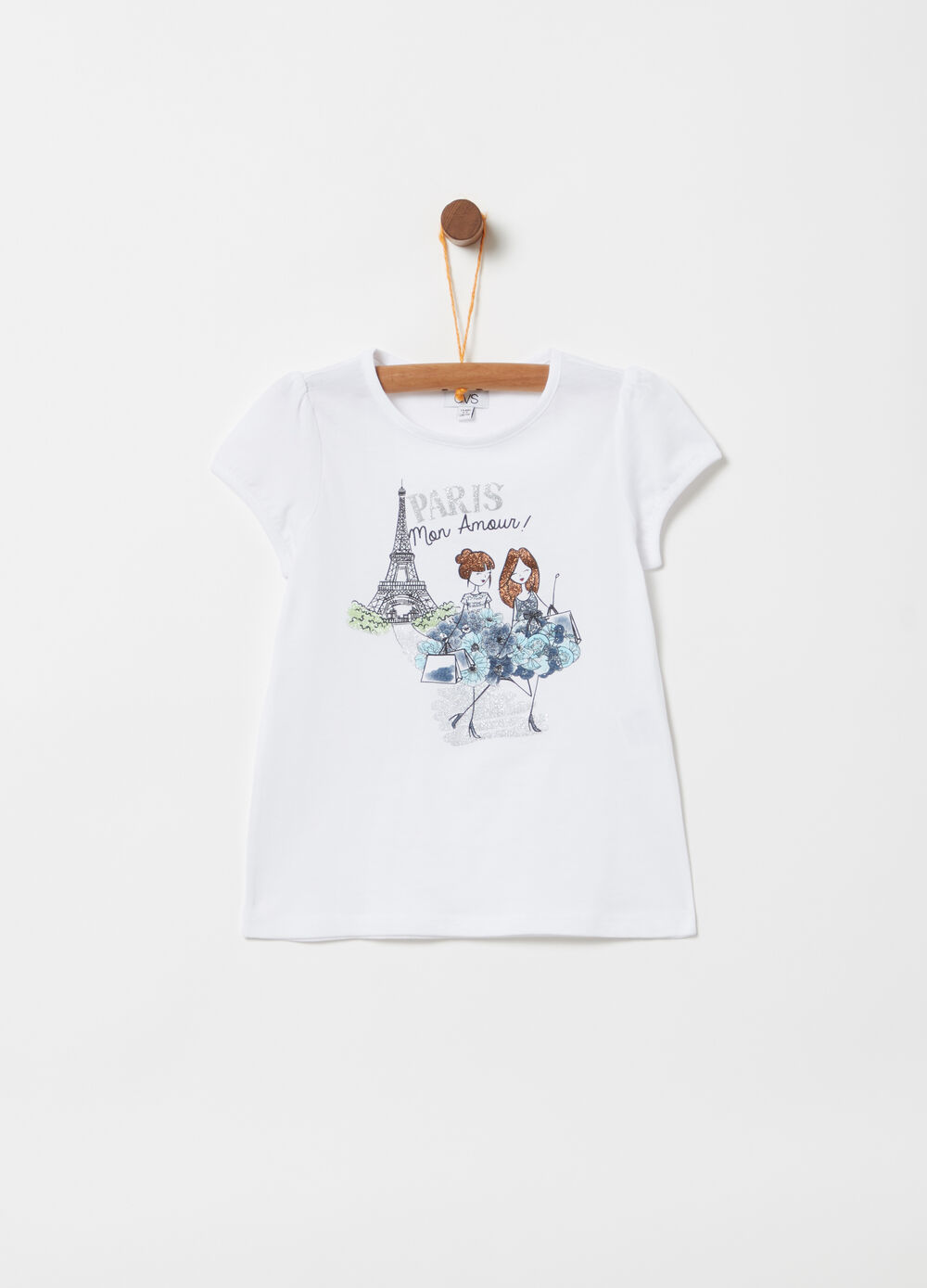 T-shirt with puff sleeves and glitter print