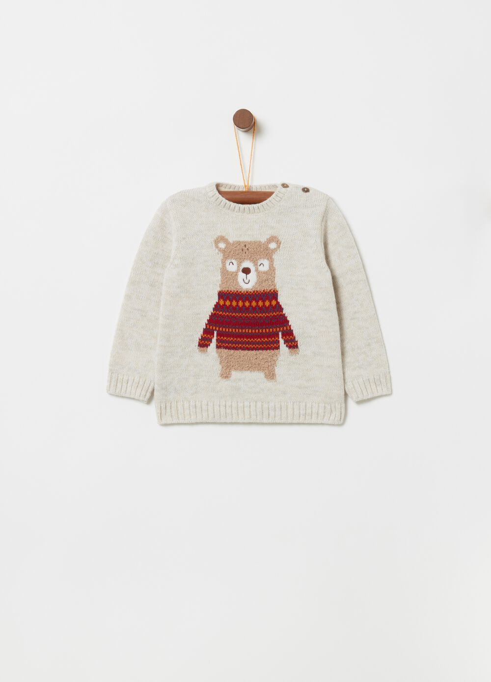 Mélange pullover with teddy bear embroidery