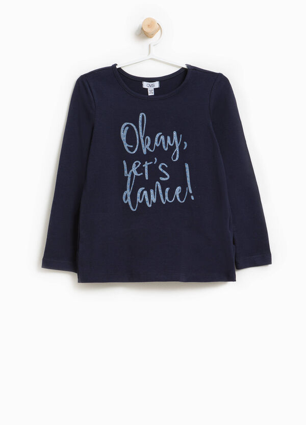 Stretch cotton T-shirt with print and flounce