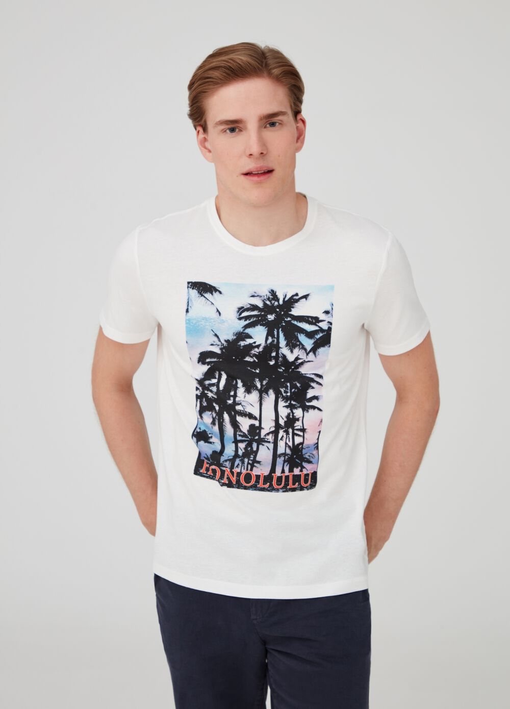 Solid colour cotton jersey T-shirt with print