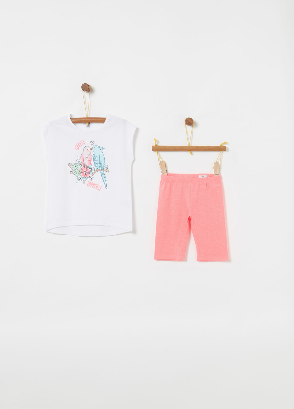 T-shirt and leggings jogging set with glitter and diamantés