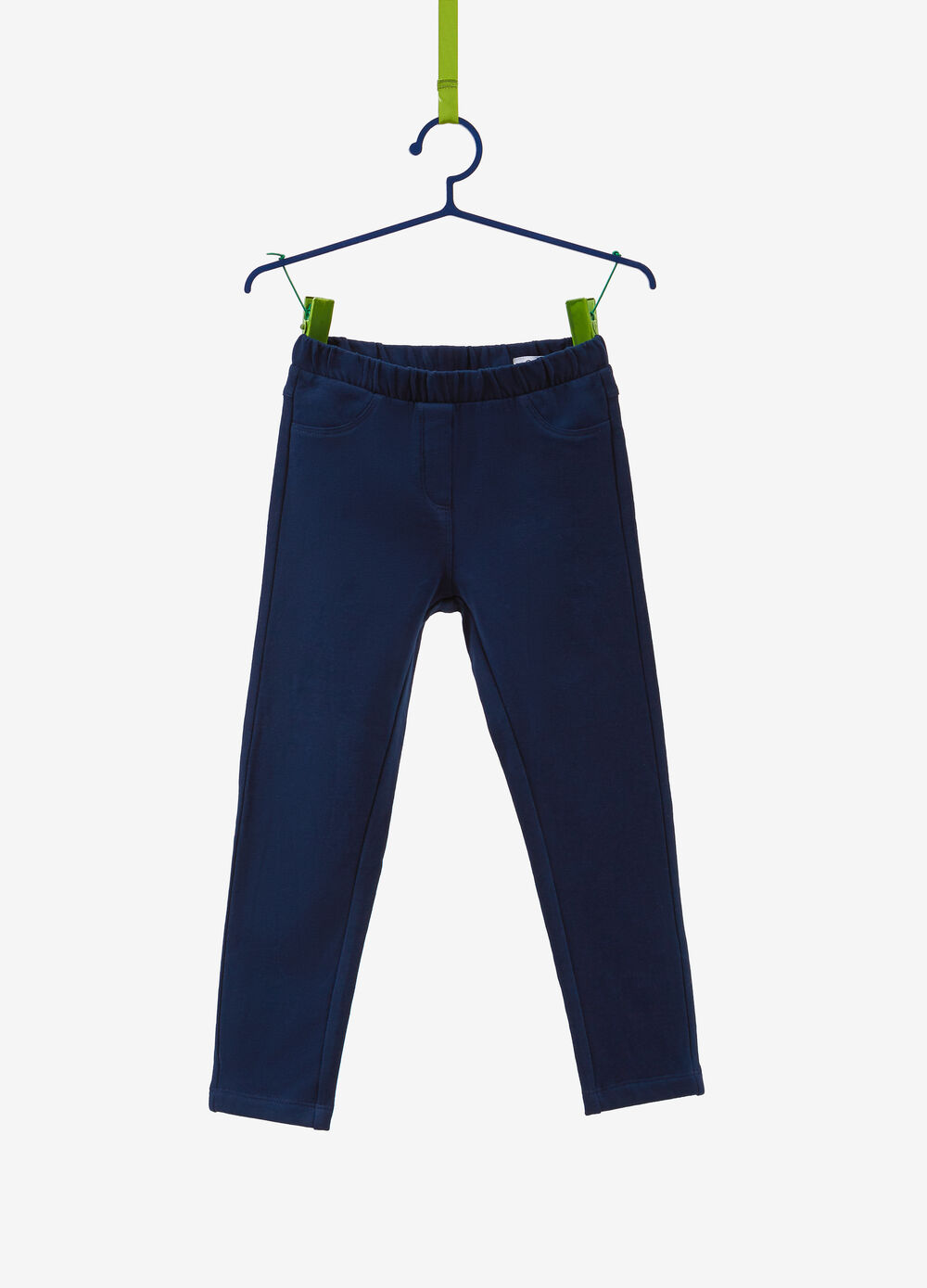 Solid colour stretch cotton trousers