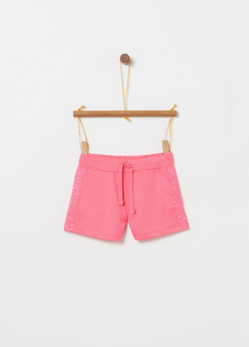 Shorts with elasticated waist and sequin details