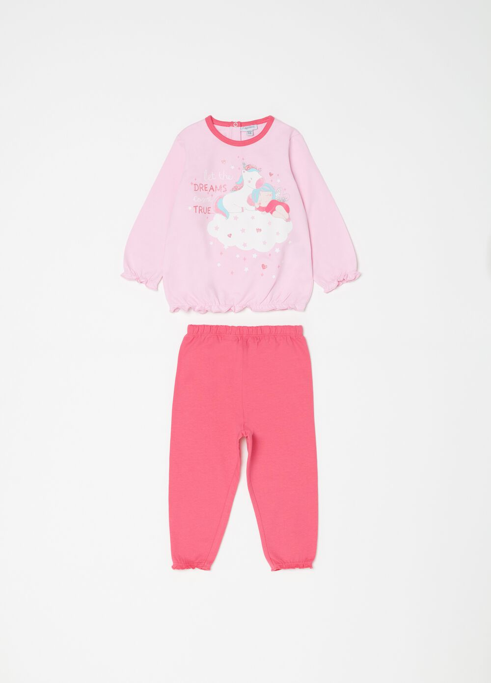 Pyjama top and trousers with unicorn print