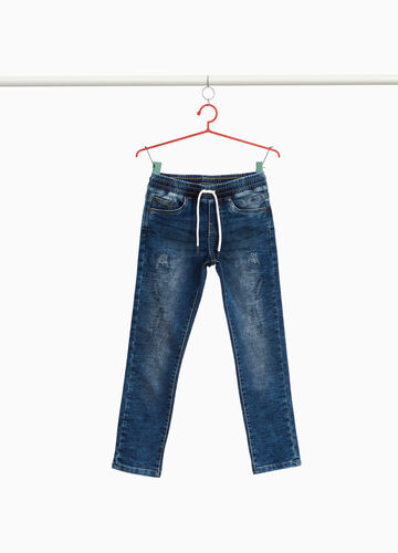 Slim-fit stretch jeans with abrasions