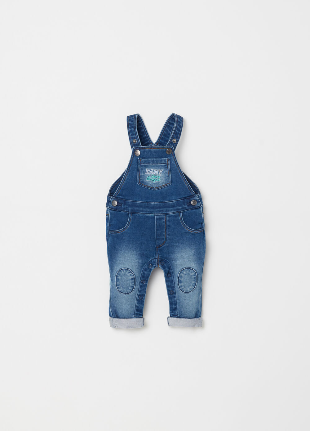Denim dungarees with pockets and embroidery