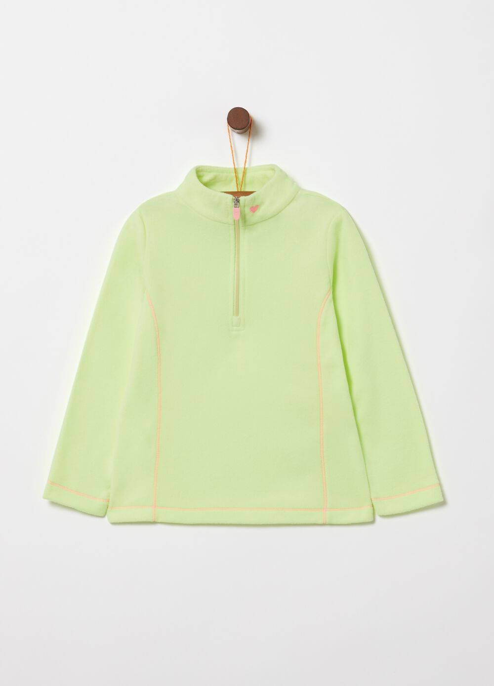 Sustainable fleece sweatshirt with high neck and zip