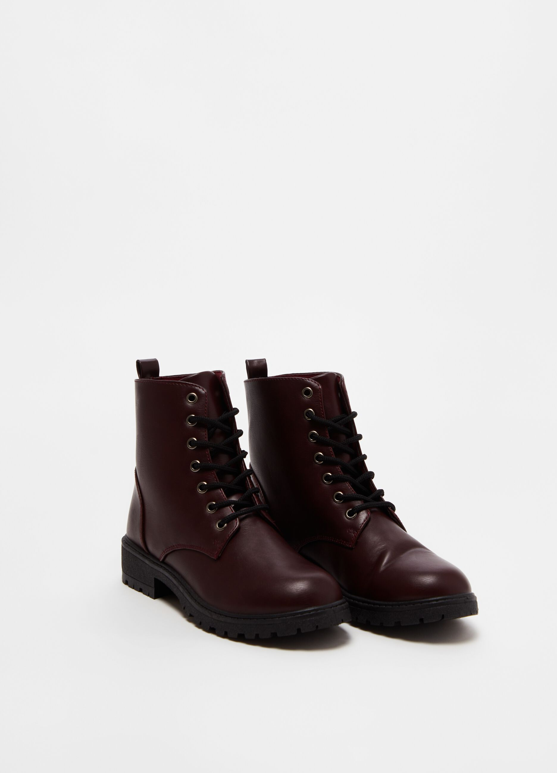 Faux leather combat boots with laces