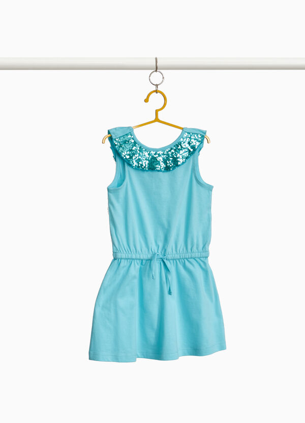 Cotton dress with ruffles and sequins