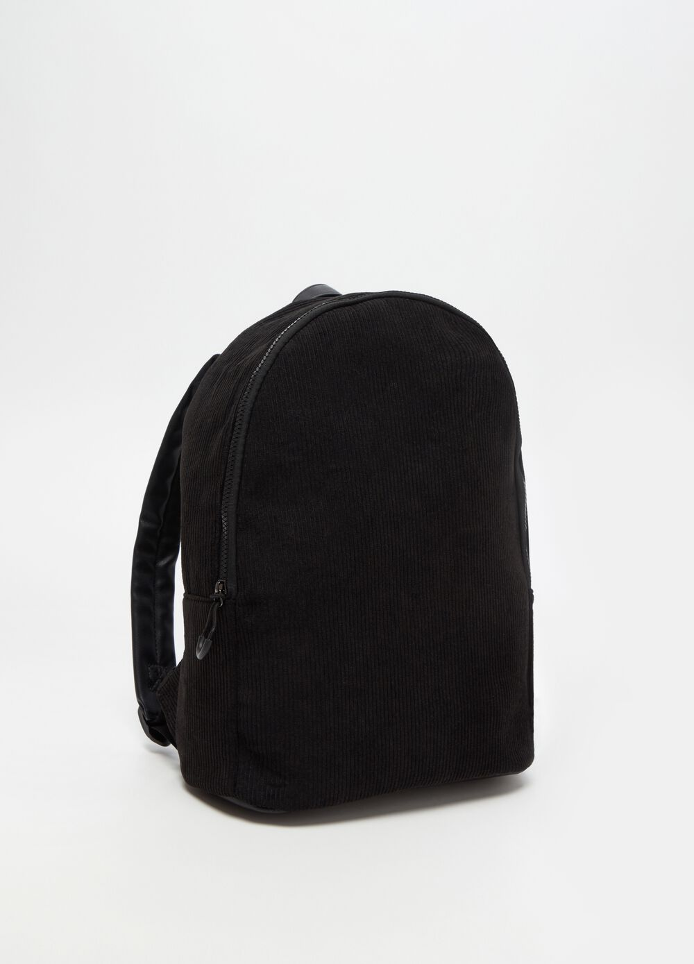Rounded fabric backpack with zip