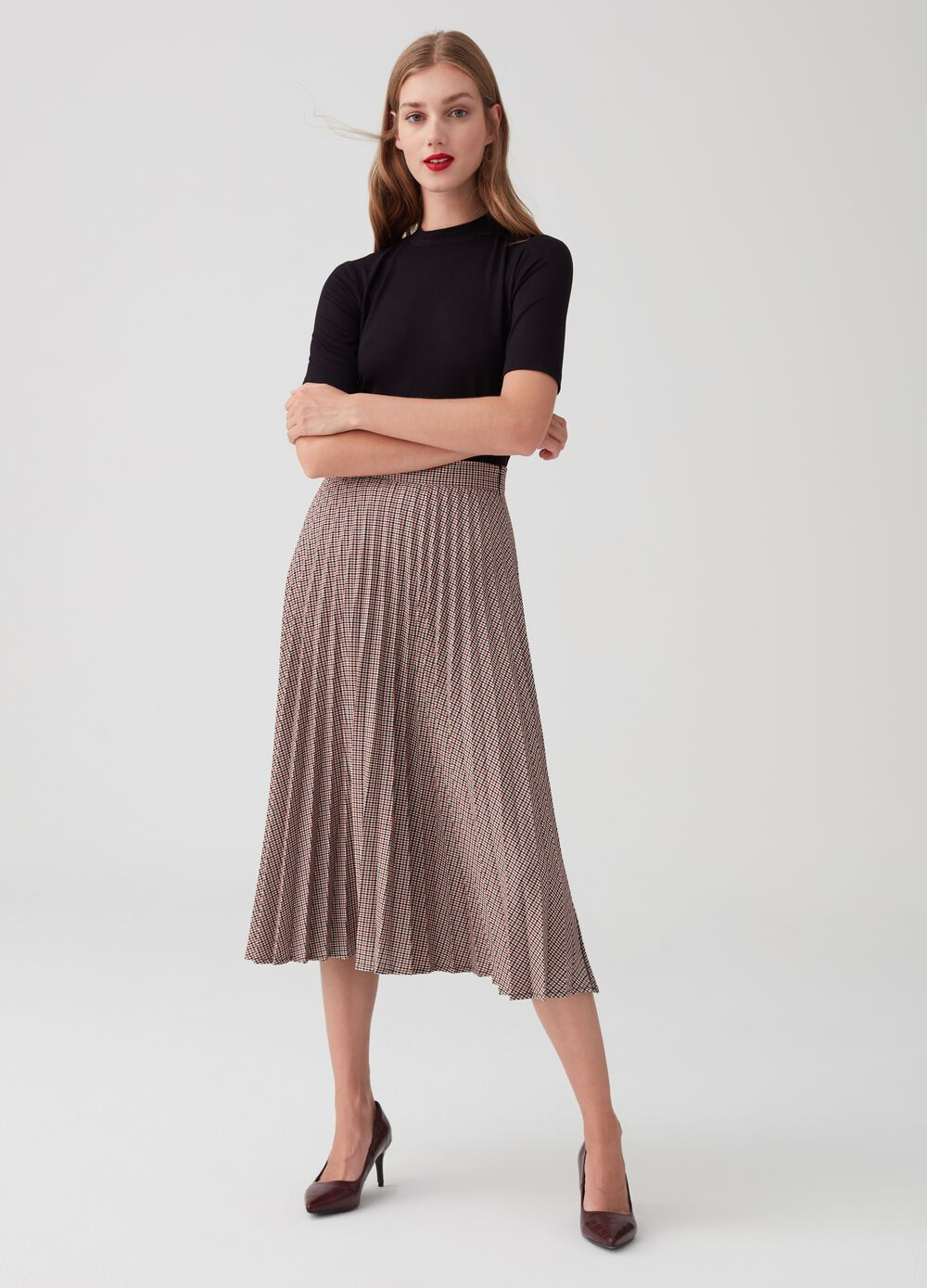 Stretch micro check pleated skirt
