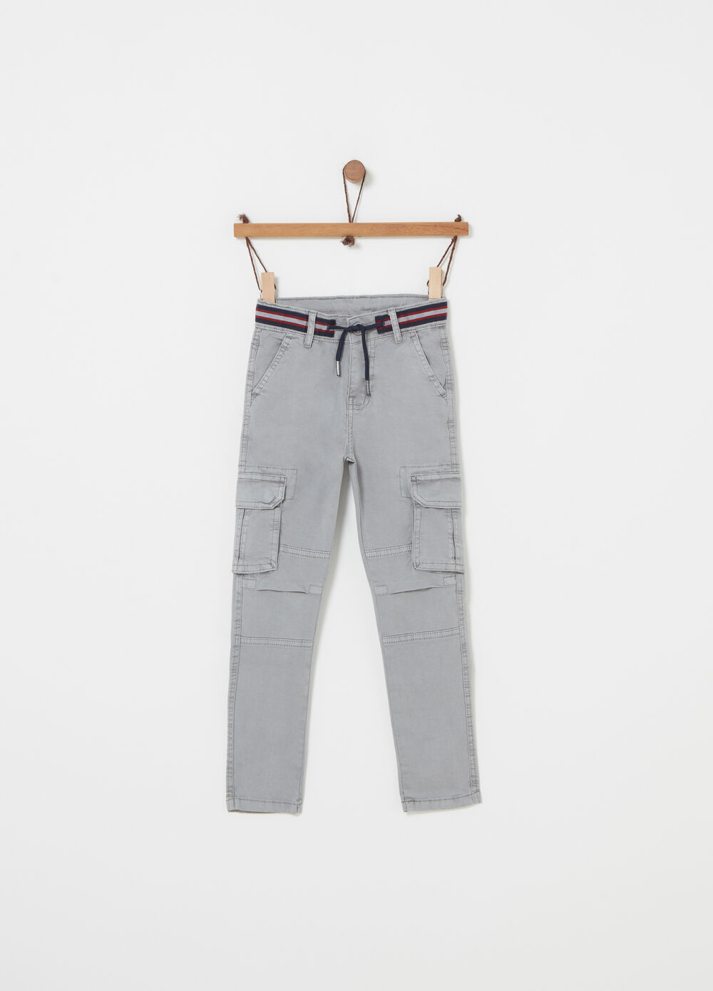 Twill cargo trousers with pockets
