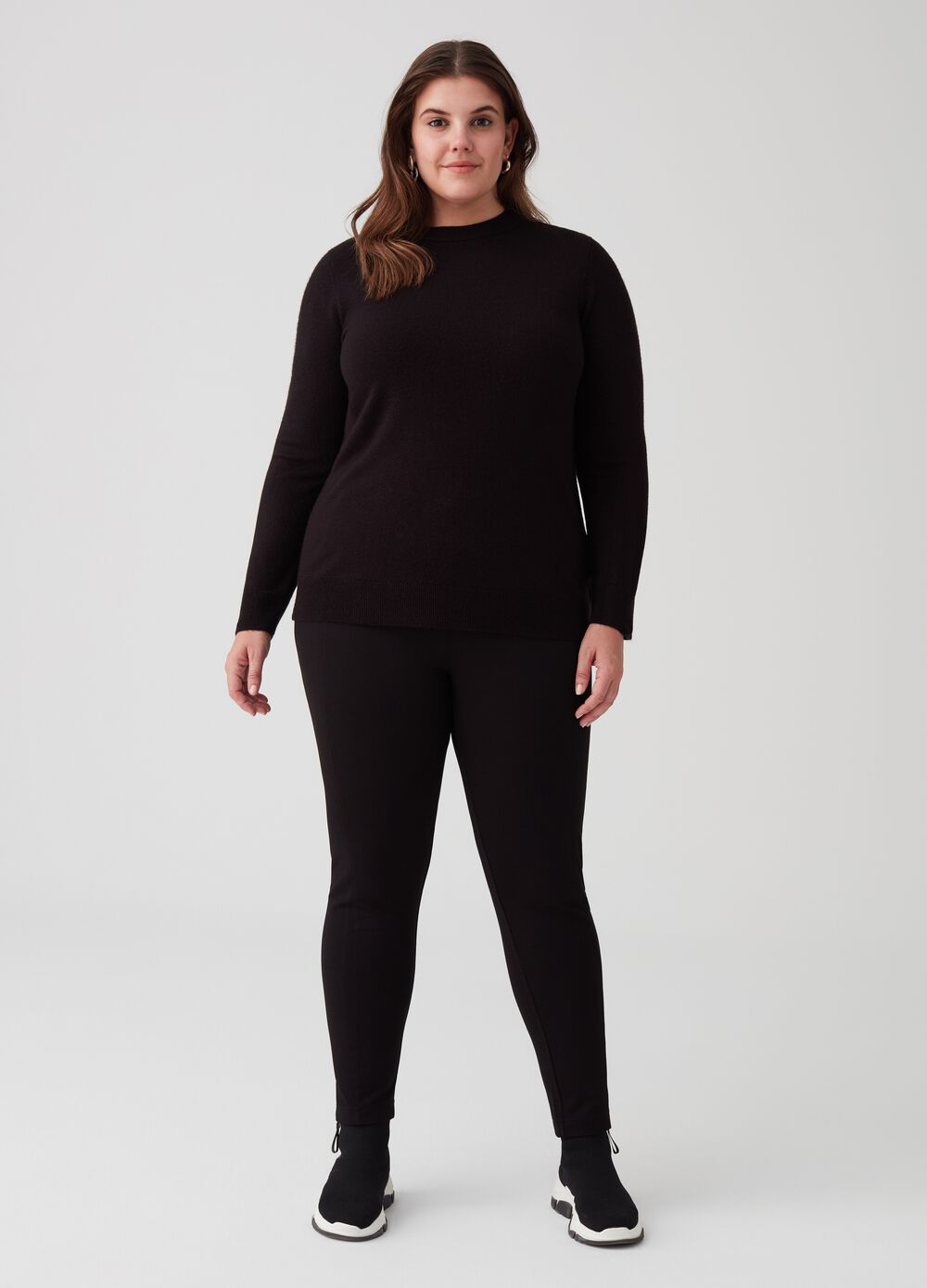 Curvy stretch leggings with elastic waist band