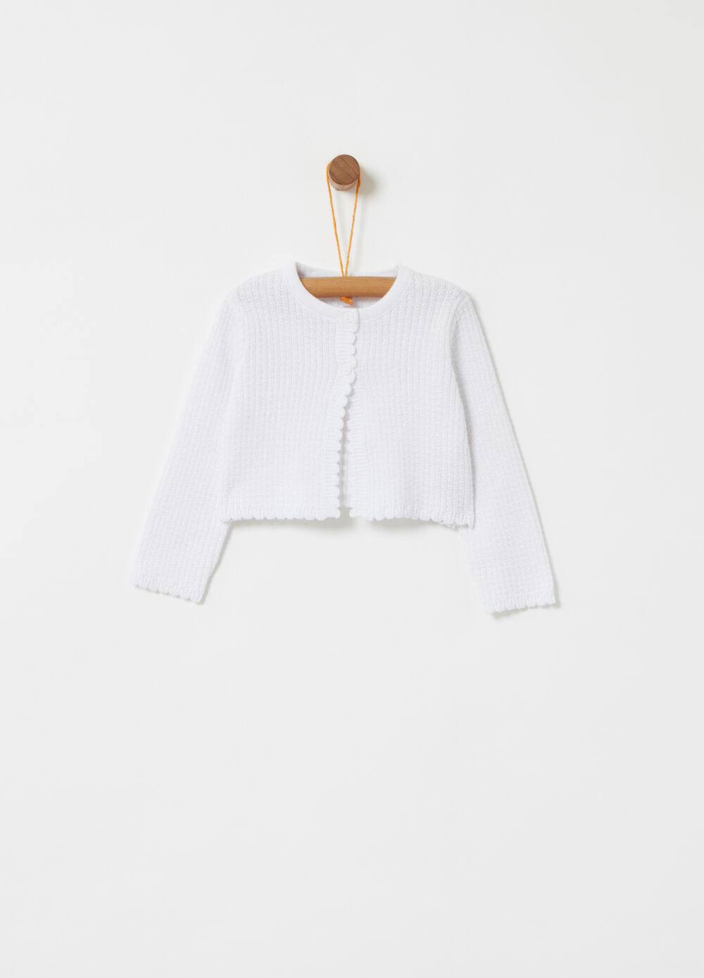 Knitted BCI cardigan with wavy flounce applications