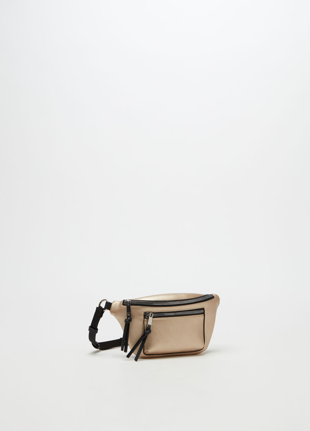 Metallic leather-look bum bag