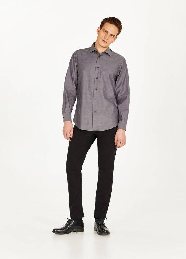 Mélange regular-fit casual shirt