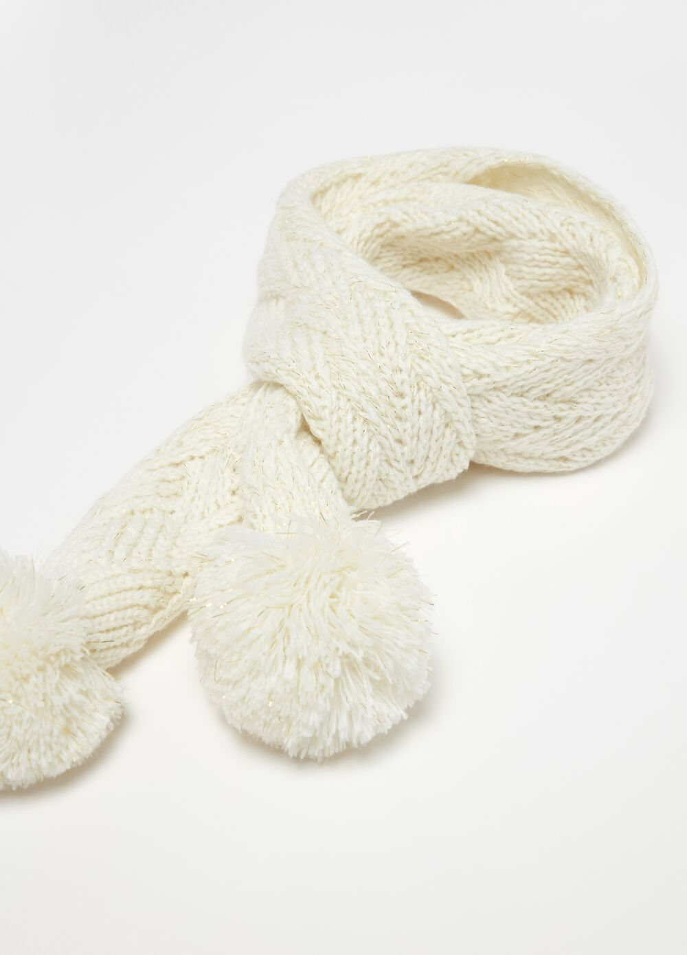 Scarf with knitted lurex and pompoms