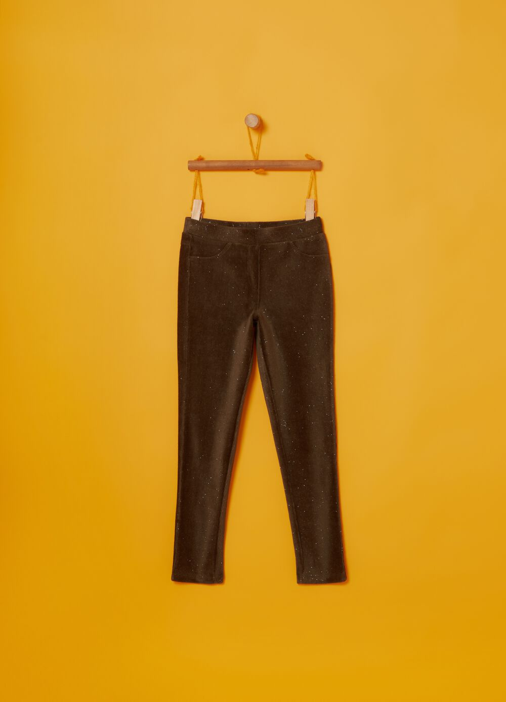Chenille trousers with glitter