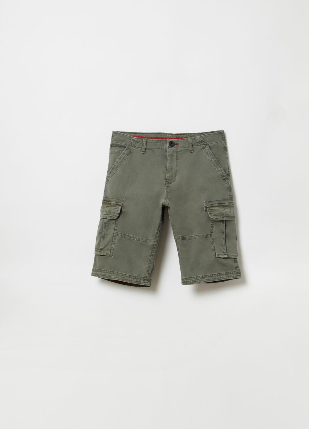 Regular-fit cargo Bermuda shorts in twill with pockets