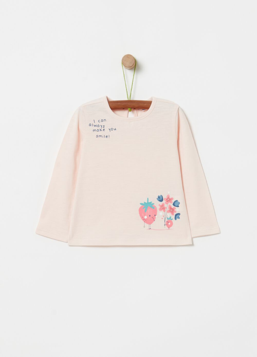 Cotton T-shirt with strawberry print