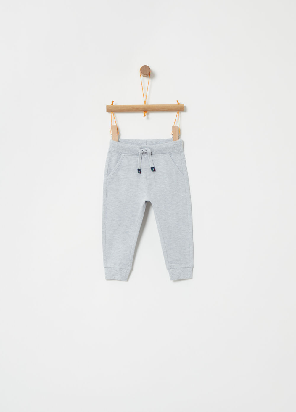 Cotton and viscose trousers with ribbing