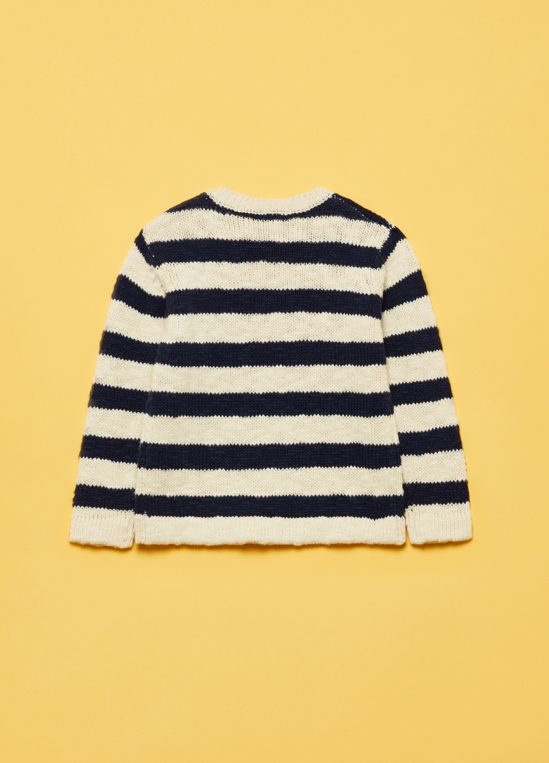 100% cotton pullover with stripes and round neck image number null