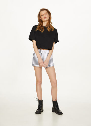 Striped stretch cotton shorts
