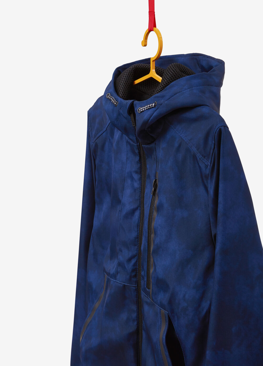Mis-dyed jacket with hood