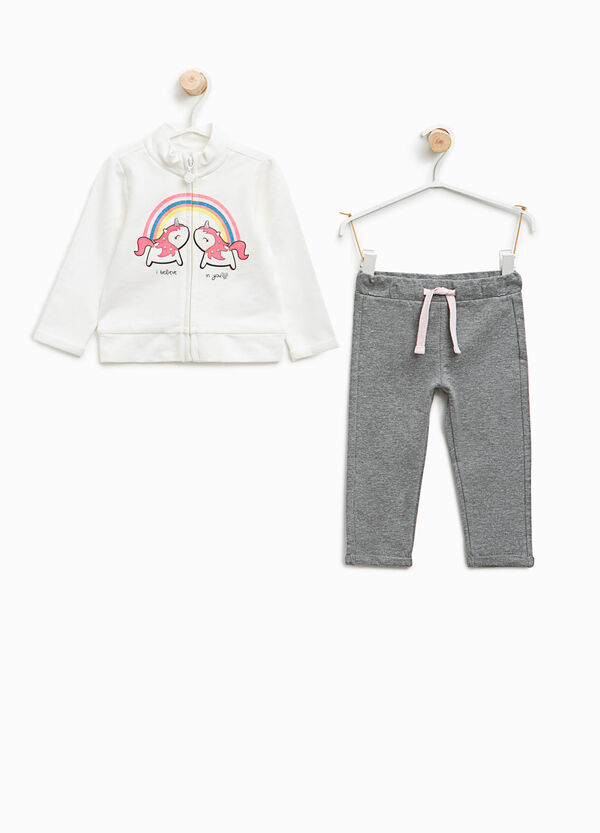 Tracksuit in stretch cotton with unicorn print   OVS