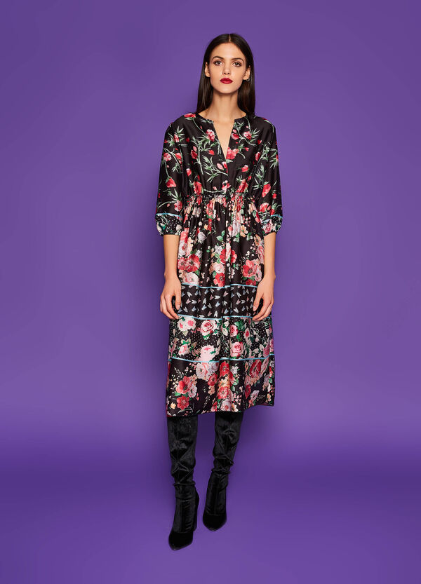 Longuette dress with all-over floral print | OVS