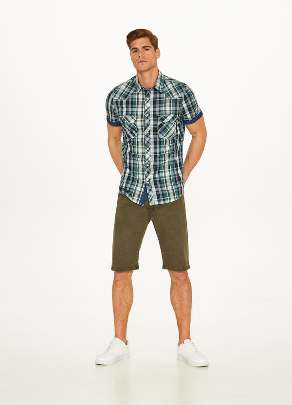 Cotton shirt with check top pockets