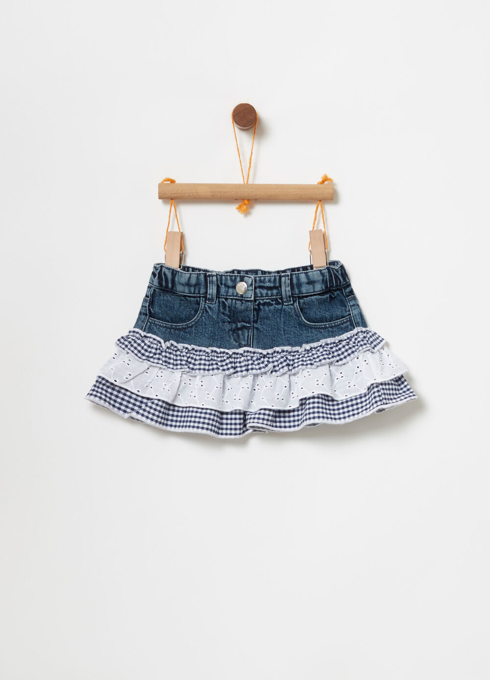 Denim skirt with flounces in Vichy and lace