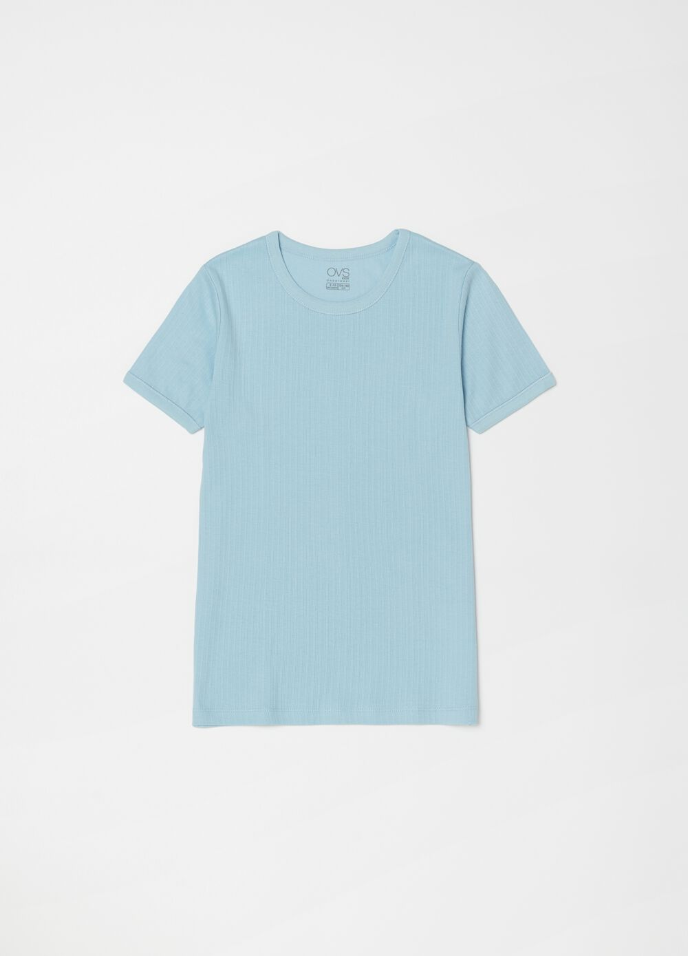 Undershirt in organic cotton with striped weave
