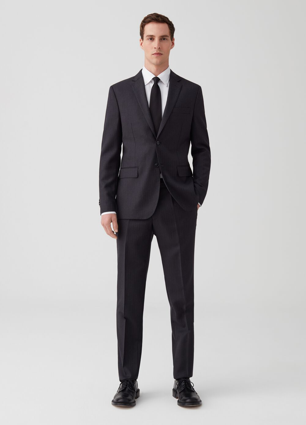 Regular-fit striped suit in 100% wool