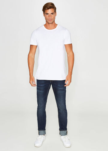 Skinny-fit jeans with whiskering and fading