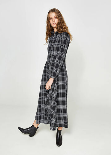 Long check suede dress