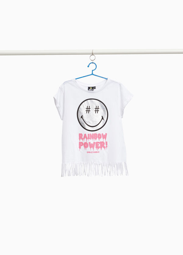 100% cotton Smiley World T-shirt with fringing