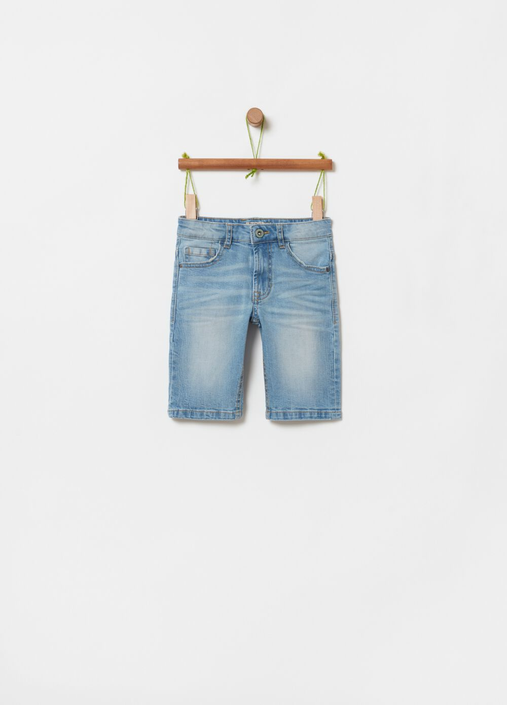 Stretch denim shorts with misdyed effect