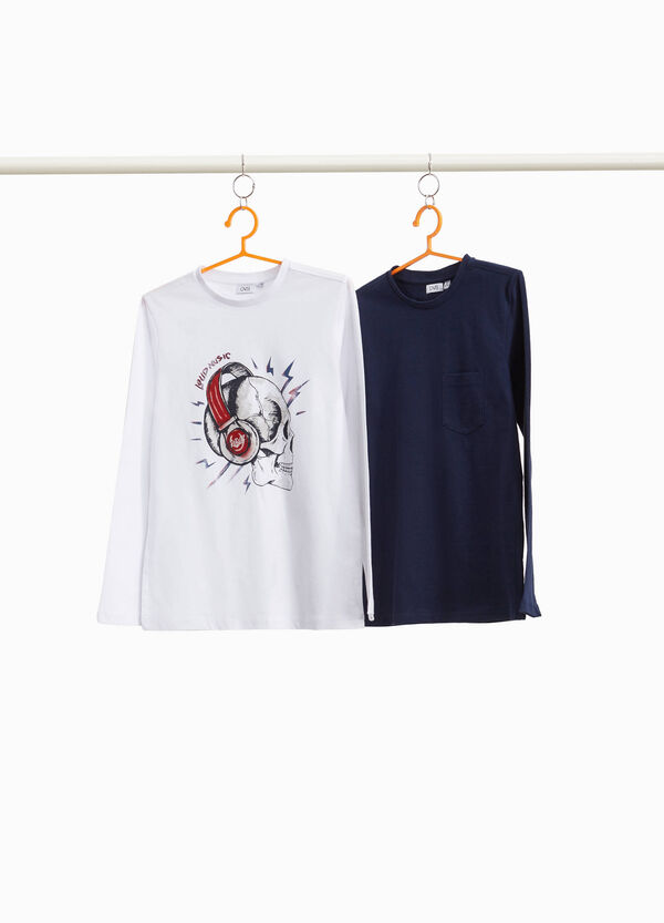 Two-pack T-shirts with print and skull