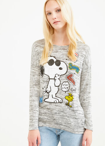 Snoopy print stretch viscose T-shirt