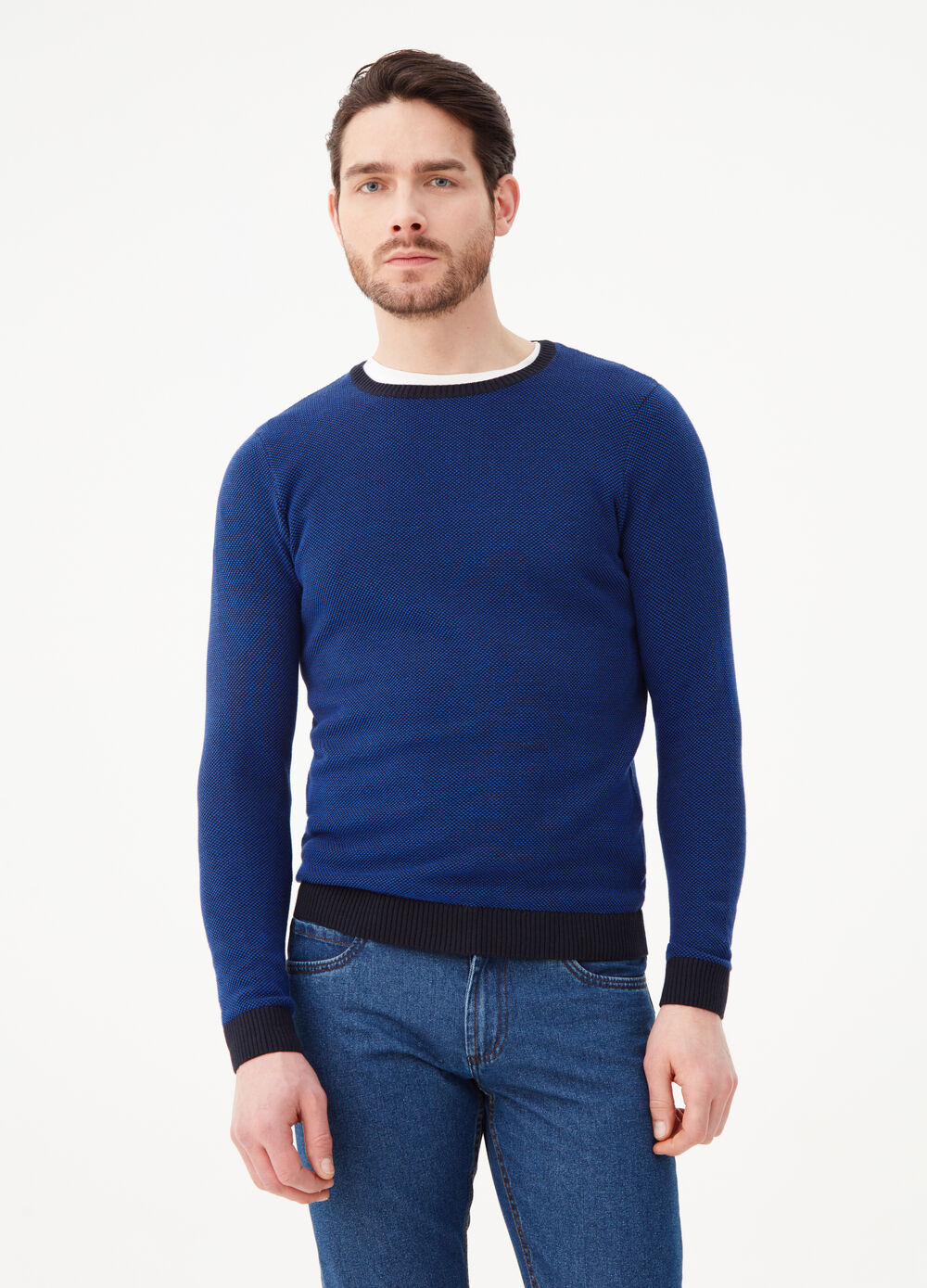 Knitted pullover with contrasting ribbing