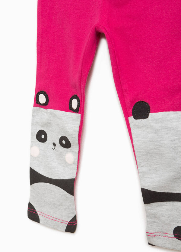 Leggings cotone patch e stampa panda | OVS