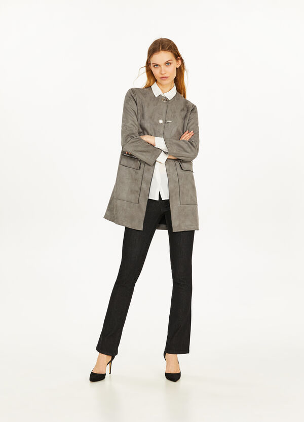 Suede-effect stretch coat