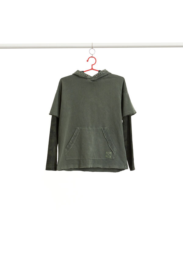 Faux-layered camouflage T-shirt